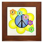 Peace Blossoms /blue Framed Tile