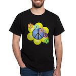 Peace Blossoms /blue Dark T-Shirt