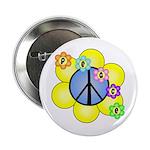 """Peace Blossoms /blue 2.25"""" Button"""