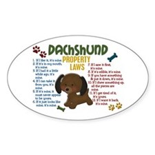 Dachshund Property Laws 4 Oval Decal