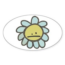 Sad Blue Flower Cartoon Oval Decal