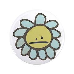 """Sad Blue Flower Cartoon 3.5"""" Button (100 pack"""