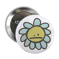 "Sad Blue Flower Cartoon 2.25"" Button"