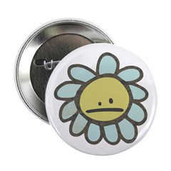 "Sad Blue Flower Cartoon 2.25"" Button"