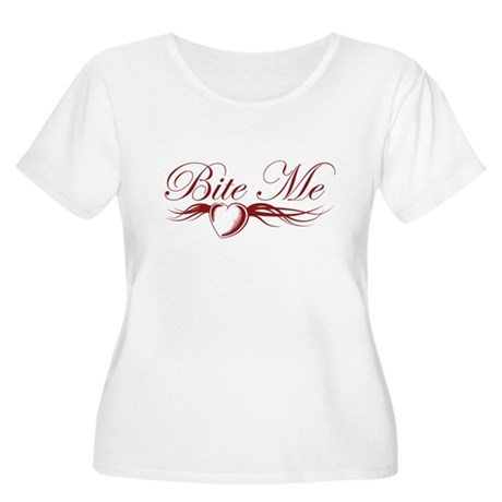 Bite Me Women's Plus Size Scoop Neck T-Shirt