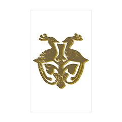 Vintage Primitive Bird Crest Rectangle Sticker 50