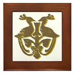Vintage Primitive Bird Crest Framed Tile