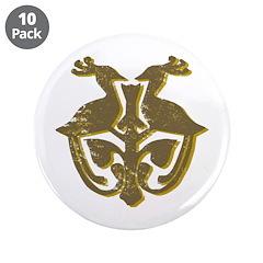 "Vintage Primitive Bird Crest 3.5"" Button (10"