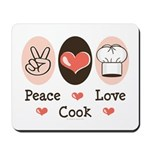 Peace Love Cook Chef Mousepad