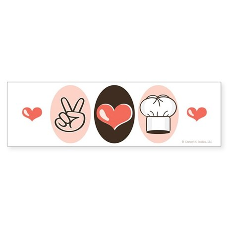 Peace Love Cook Chef Bumper Sticker