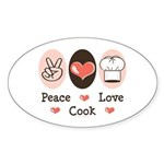 Peace Love Cook Chef Oval Sticker (10 pk)
