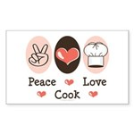 Peace Love Cook Chef Rectangle Sticker