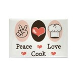 Peace Love Cook Chef Rectangle Magnet (100 pack)