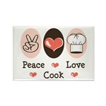 Peace Love Cook Chef Rectangle Magnet