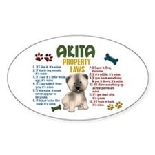 Akita Property Laws 4 Oval Decal
