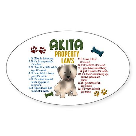 Akita Property Laws 4 Oval Sticker