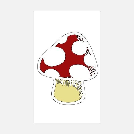 Funky Cartoon Mushroom Rectangle Decal