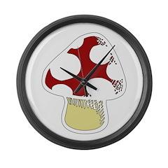 Funky Cartoon Mushroom Large Wall Clock