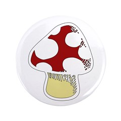 "Funky Cartoon Mushroom 3.5"" Button (100 pack)"