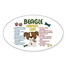 Beagle Property Laws 4 Oval Decal