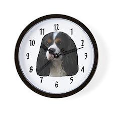 Tricolor Cavalier Spaniel Wall Clock