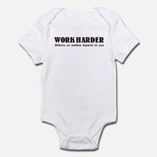 WORK HARDER MILLIONS ON WELFA Infant Bodysuit