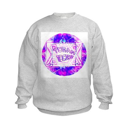 Torah Rocks Blue & Purple Kids Sweatshirt