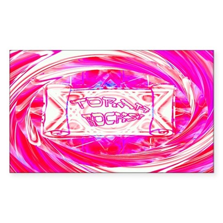 Torah Rocks (Pink) Rectangle Sticker