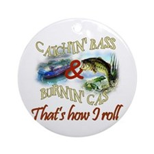 Catchin' Bass & Burnin' Gas Ornament (Round)