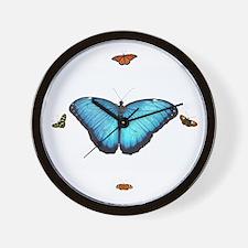 Blue Morpho Butterfly & Friends Clock Wall Clo