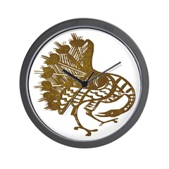 Distressed Tribal Peacock Wall Clock