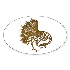 Distressed Tribal Peacock Oval Sticker (10 pk)