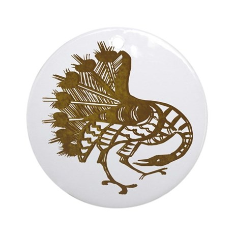 Distressed Tribal Peacock Ornament (Round)