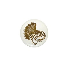 Distressed Tribal Peacock Mini Button (100 pack)