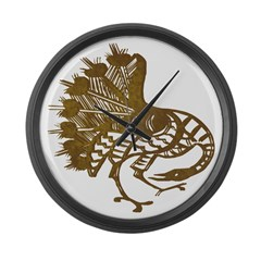 Distressed Tribal Peacock Large Wall Clock