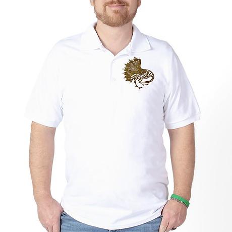 Distressed Tribal Peacock Golf Shirt