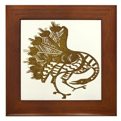 Distressed Tribal Peacock Framed Tile