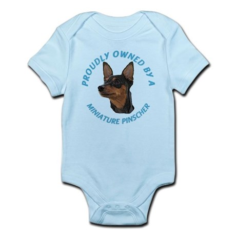 Proudly Owned Min Pin Infant Bodysuit