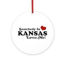 Somebody in Kansas Loves me Ornament (Round)