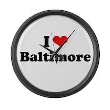 I love Baltimore Large Wall Clock
