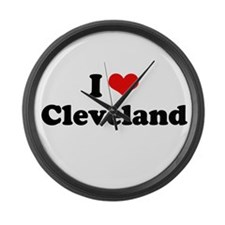I love Cleveland Large Wall Clock