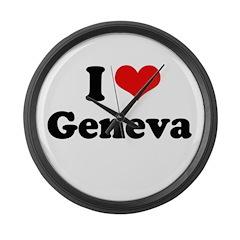 I love Geneva Large Wall Clock