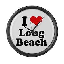 I love Long Beach Large Wall Clock
