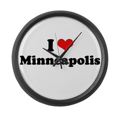 I love Minneapolis Large Wall Clock