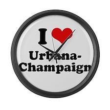 I love Urbana-Champaign Large Wall Clock