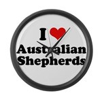 I Love Australian Shepherds Large Wall Clock