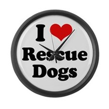 I Love Rescue Dogs Large Wall Clock