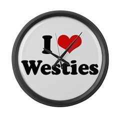 I Love Westies Large Wall Clock