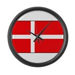 Danish / Denmark Flag Large Wall Clock