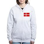 Danish / Denmark Flag Women's Zip Hoodie
